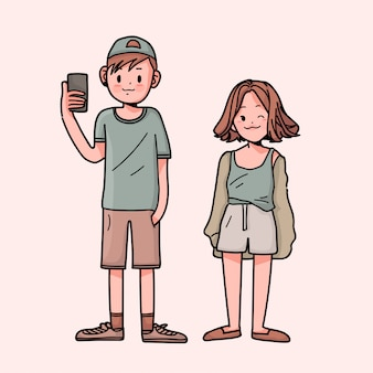 Hand getekende kawaii jongen met meisje