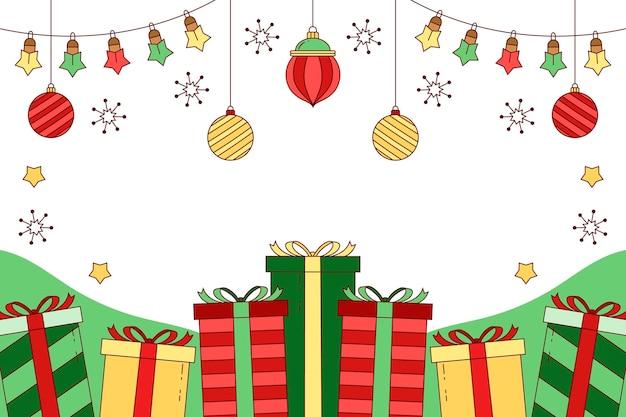 Hand getekende kerst achtergrond met geschenken