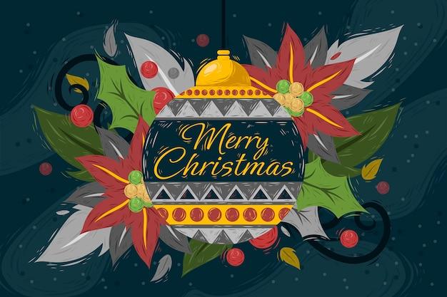 Hand getekende kerst achtergrond ornament