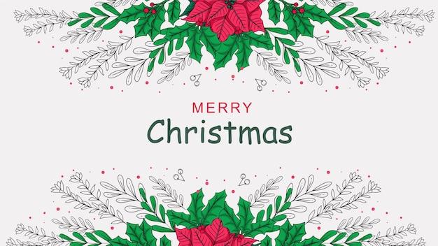 Hand getekende kerst decoratie achtergrond b
