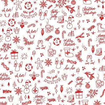 Hand getekende kerst elementen naadloos patroon