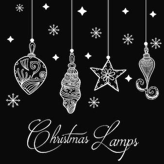 Hand getekende kerst lampen achtergrond