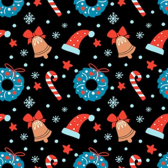 Hand getekende kerst naadloze patroon met bloemen krans bell hoed ster snoepgoed