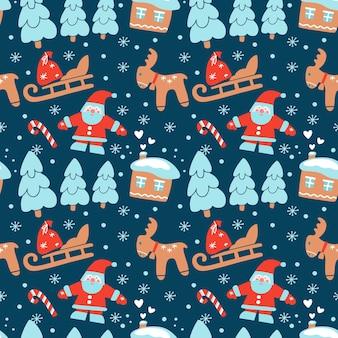 Hand getekende kerst naadloze patroon met huis firtree bos herten slee santa claus sneeuwvlok