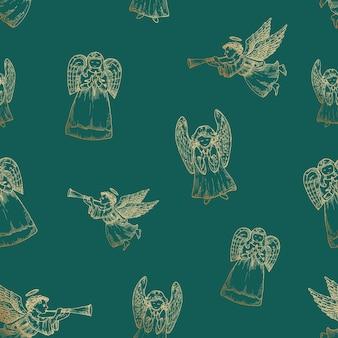 Hand getekende kerst vector naadloze achtergrond patroon engelen schetsen kaart of voorbladsjabloon gouden...