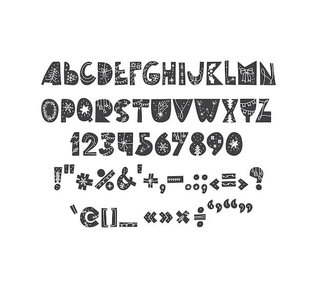 Hand getekende kerst vector vet abc alfabet scandinavische lettertype van schattige letters en noordse cijfers geïsoleerd op een witte achtergrond.