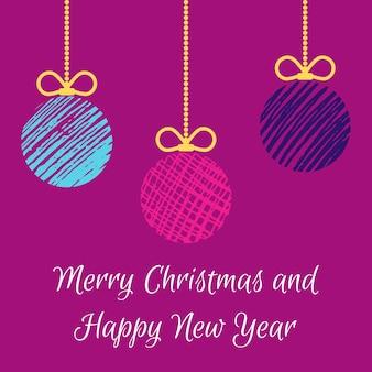 Hand getekende kerstballen. veelkleurige doodle kerstballen op paarse achtergrond. winter vakantie wenskaart. vector illustratie