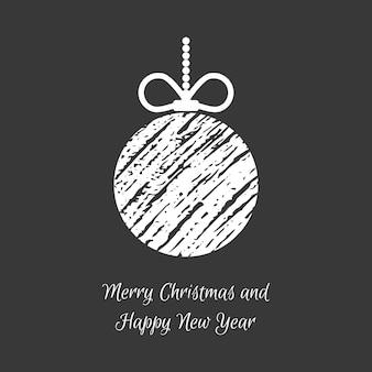 Hand getekende kerstballen. witte doodle kerstbal op donkere achtergrond. winter vakantie wenskaart. vector illustratie