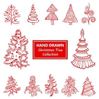 Hand getekende kerstboom collectie