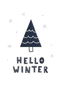 Hand getekende kerstboom en belettering hallo winter. vectorillustratie voor wenskaart, poster.