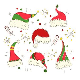 Hand getekende kerstman hoed collectie