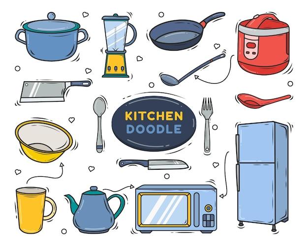 Hand getekende keukenapparatuur cartoon doodle