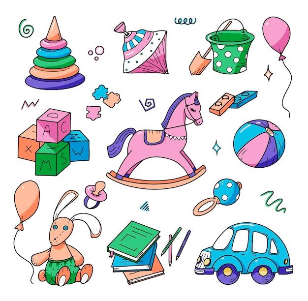 Hand getekende kinderen doodle set doodle stijl kleurrijke vectorillustratie
