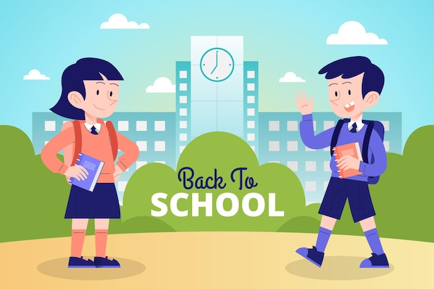 Hand getekende kinderen terug naar school