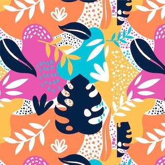 Hand getekende kleurrijke abstracte bladeren patroon