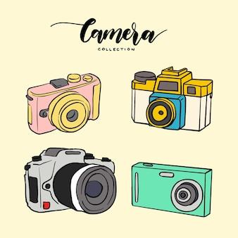 Hand getekende kleurrijke camera collectie