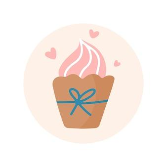 Hand getekende kleurrijke cupcake clipart met lint en harten op beige background