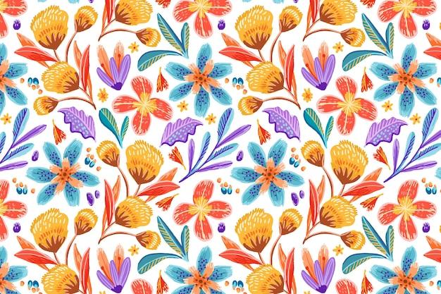 Hand getekende kleurrijke exotische bloemmotief achtergrond