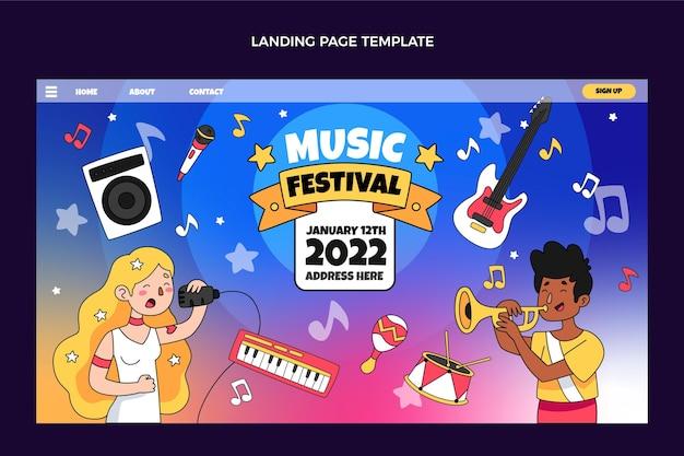 Hand getekende kleurrijke muziekfestival twitter header (cover)