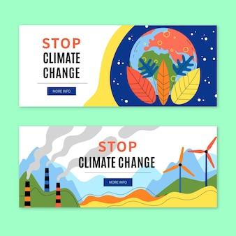 Hand getekende klimaatverandering banners sjabloon