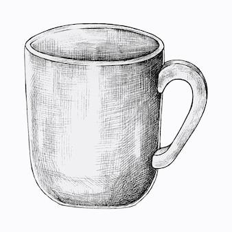 Hand getekende koffiekopje vector