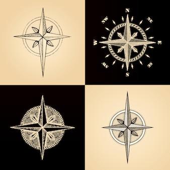 Hand getekende kompas windroos