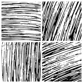 Hand getekende krabbel achtergrond. set van vier abstracte zwart-wit doodle achtergronden. vector illustratie