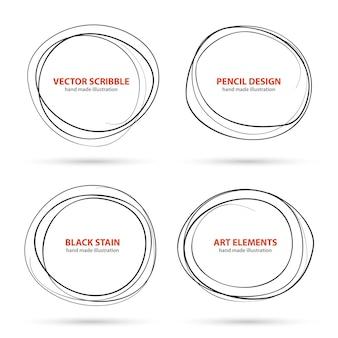 Hand getekende krabbel cirkels sjabloon. vector