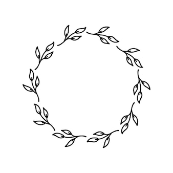Hand getekende krans op witte achtergrond zwarte plant doodle krans