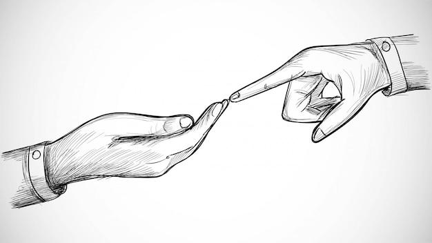 Hand getekende kunst schets met hand aanraken vrouw concept