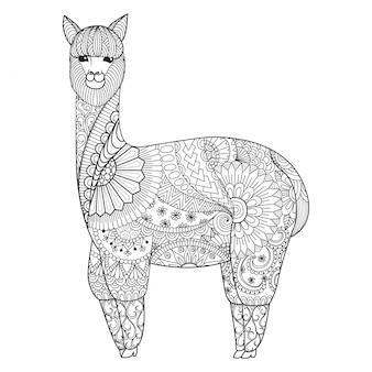 Hand getekende lama achtergrond