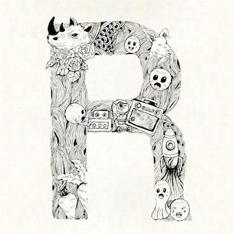 Hand getekende letter r achtergrond