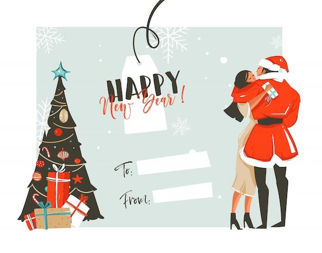 Hand getekende leuke happy new year coon retro vintage illustraties tijdkaart met romantisch koppel die kussen en knuffelen, kerstboom en plaats voor uw tekst op witte achtergrond