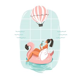 Hand getekende leuke zomertijd illustratie kaart met meisje zwemmen op roze flamingo float cirkel in blauwe oceaan golven