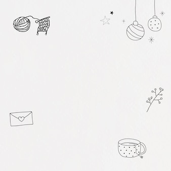 Hand getekende levensstijl frame vector schattige winter doodle illustratie