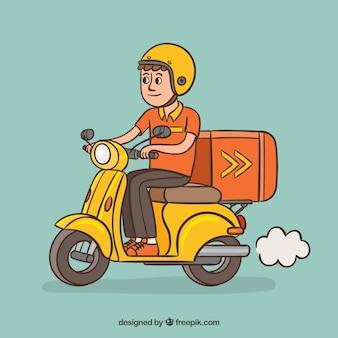 Hand getekende leveringsman op klassieke scooter