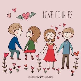 Hand getekende liefde koppels