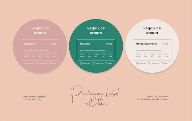 Hand getekende lijn kunst vector cosmetica label ontwerpsjabloon