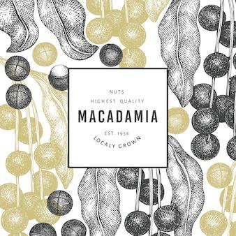 Hand getekende macadamia tak en kernels ontwerpsjabloon. biologisch voedsel vectorillustratie op witte achtergrond. retro moer illustratie. botanische banner in gegraveerde stijl.