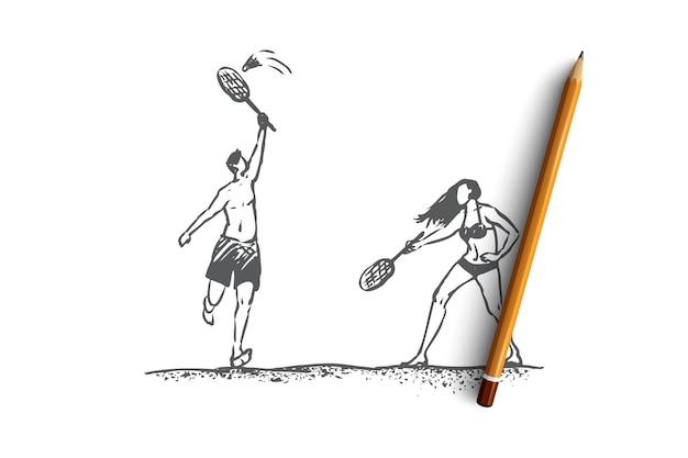 Hand getekende man en vrouw spelen in badminton op strand concept schets