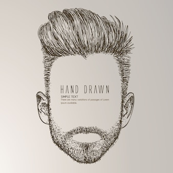 Hand getekende man met baard