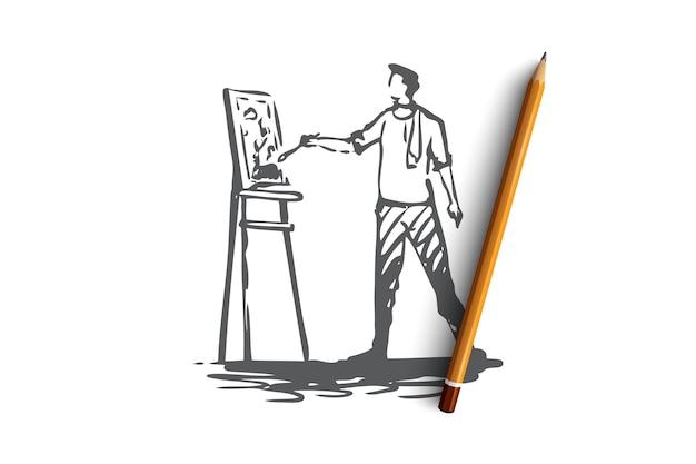 Hand getekende mannelijke kunstenaar concept schets tekening