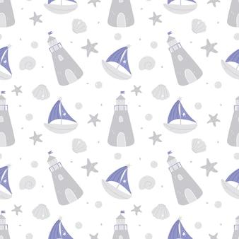 Hand getekende mariene naadloze patroon met vuurtoren boot schelpen en bubbels
