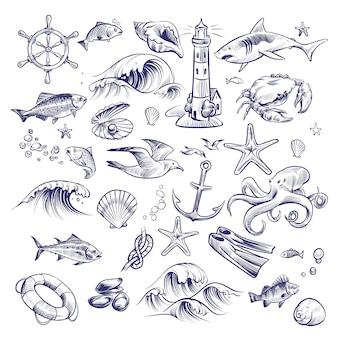 Hand getekende mariene set. zee oceaan reis vuurtoren haai krab octopus zeester knoop krab shell reddingsboei collectie