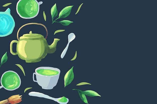 Hand getekende matcha thee achtergrond