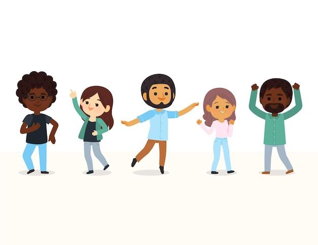 Hand getekende mensen dansen illustratie Gratis Vector