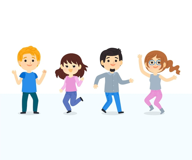 Hand getekende mensen dansen illustratie