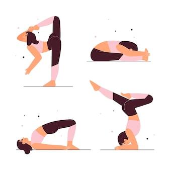 Hand getekende mensen die yoga doen