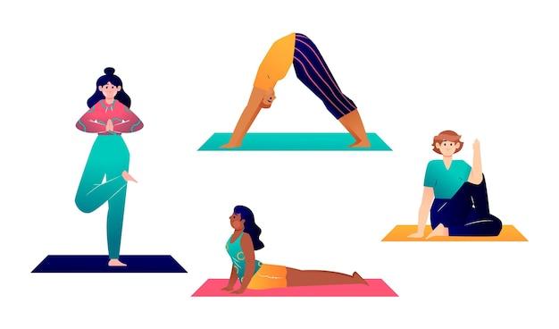 Hand getekende mensen doen yoga pack