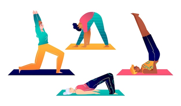 Hand getekende mensen doen yoga set
